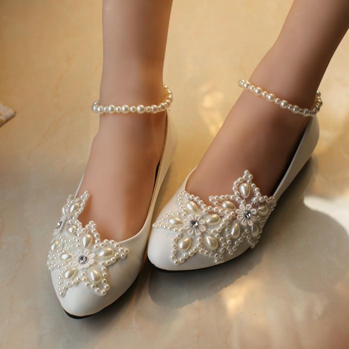 2014 blanc etoile a cinq branches perle strass perles cheville chaussures de mariage de demoiselle d 1