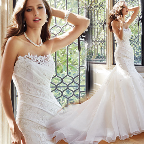2015 fashionable romantic sexy beaded lace mermaid wedding dress train vestidos plus size bridal dresses casamento