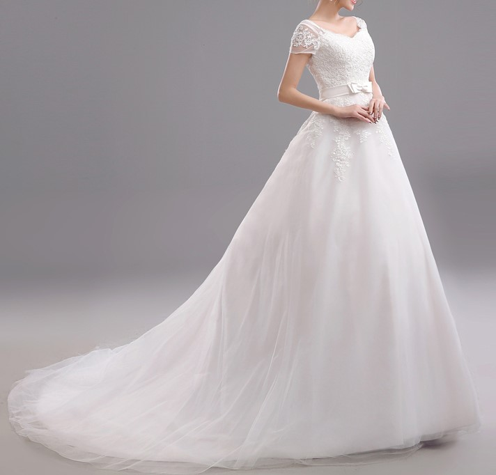 2015 new arrival free shipping long tail lace wedding dress sleeve vestidos sexy plus size vintage