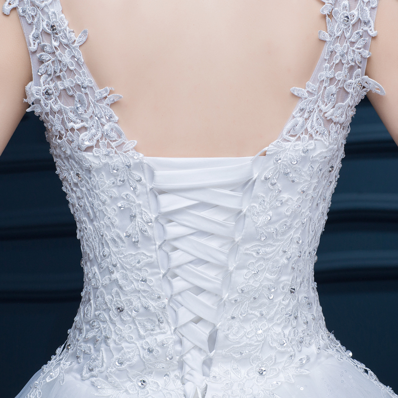 2015 new shoulder off white with red lace wedding dress long train sexy plus size diamond 3