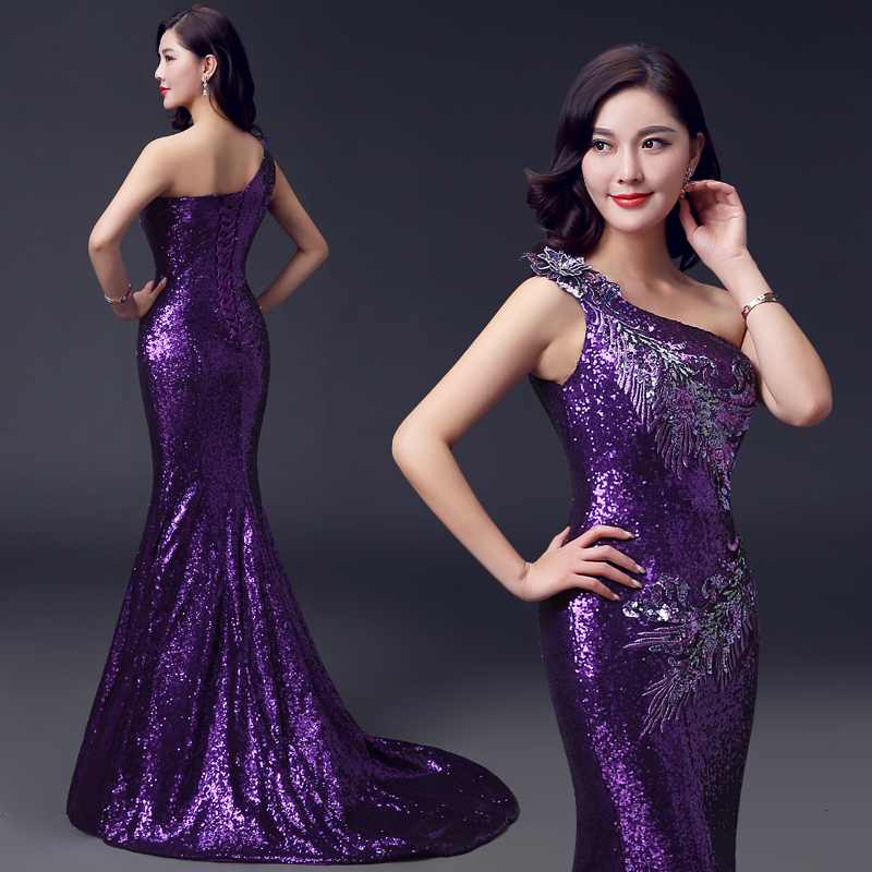 2015 nouvelle dentelle paillettes violet sirene robe de soiree long train une epaule sexy ceinture vintage