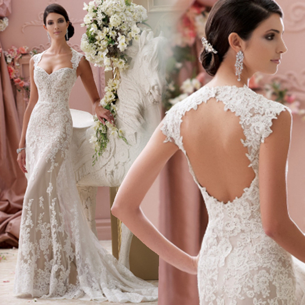 2015 off white sexy backless lace mermaid wedding dress train romantic short front long back wedding