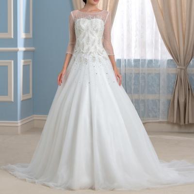 2016 de luxe robes de mariee avec 3 4 manches magnifique organza sheer cou perles cristal