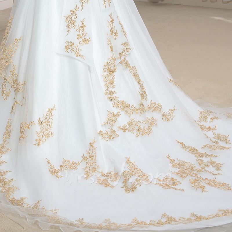 2016 de mariage de luxe robes pinceau train d or broderie ch eacute 2