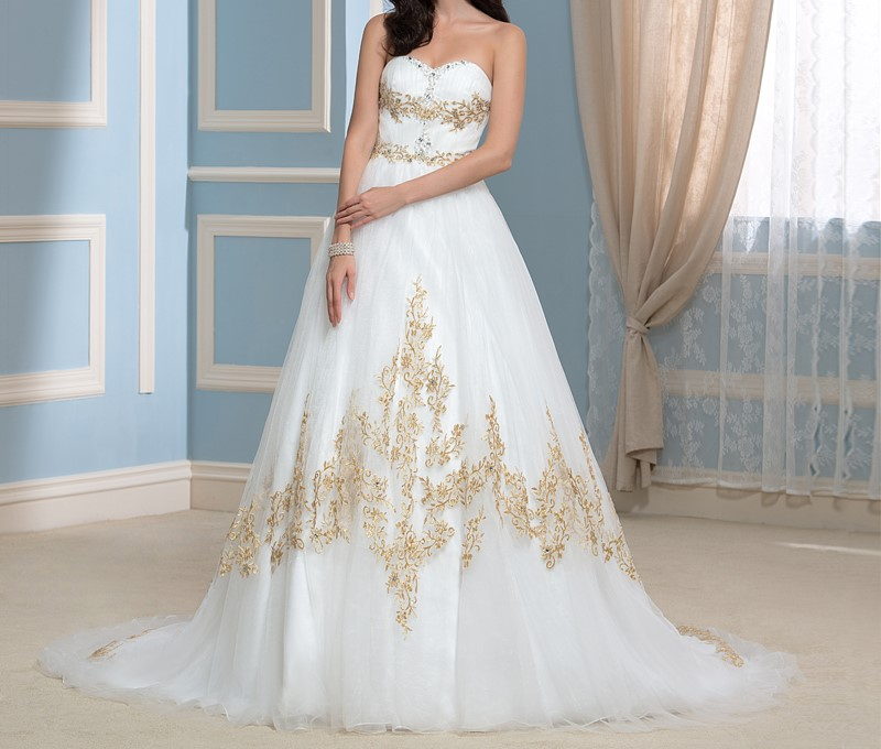2016 de mariage de luxe robes pinceau train d or broderie cherie perlee robes de mariee