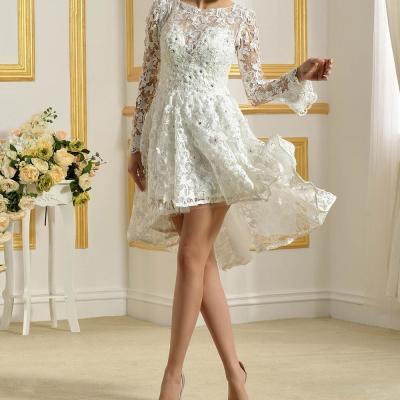 2016 delicat dessus du genou longueur robes de mariee dentelle blanche scoop sheer applique baguettes court
