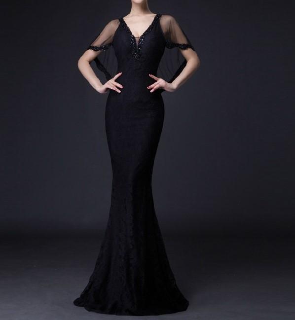 2016 livraison gratuite dentelle col v parti robes longues robes de soir eacute