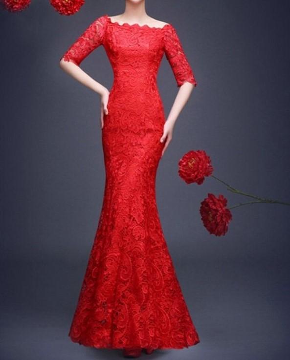 2016 livraison gratuite dentelle rouge robes de parti officiel agrave 1