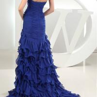 2016 nouveau design vestidos de festa halter en mousseline de soie bleu royal avec le train 1