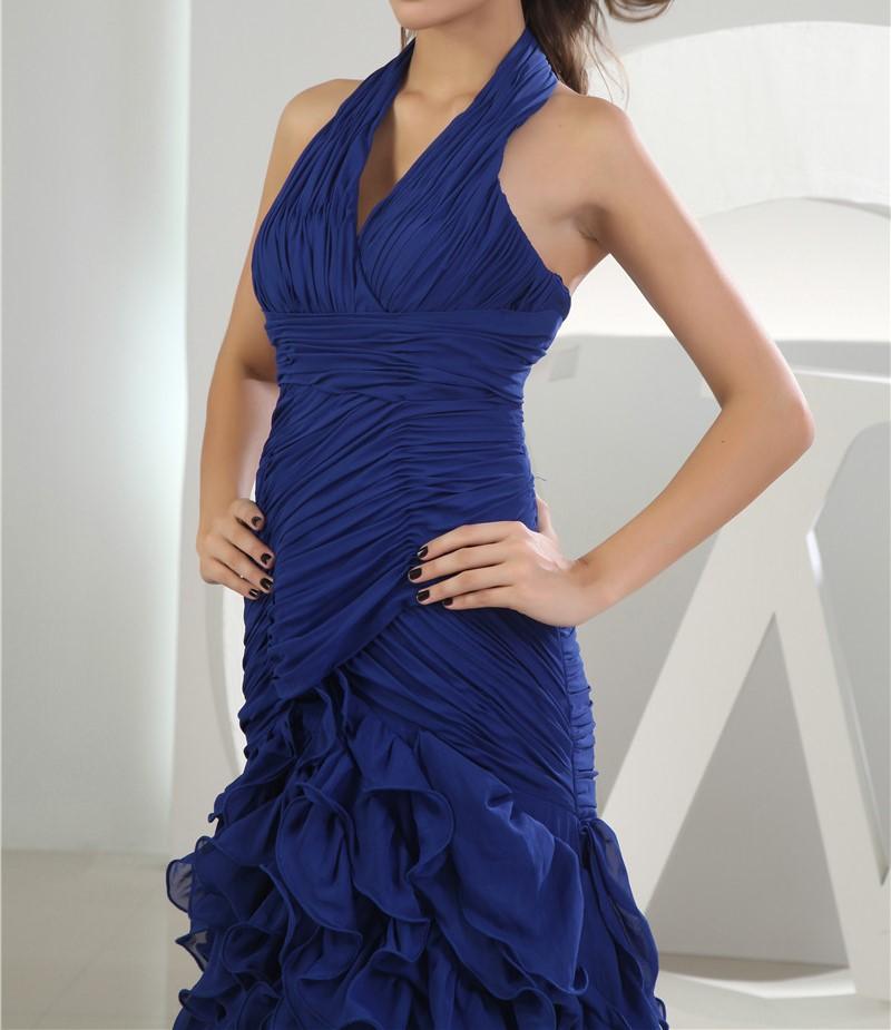 2016 nouveau design vestidos de festa halter en mousseline de soie bleu royal avec le train 2