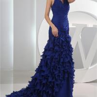2016 nouveau design vestidos de festa halter en mousseline de soie bleu royal avec le train