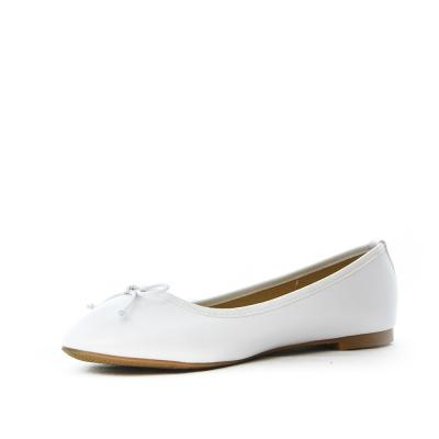 Ballerine blanc en simili cuir a noeud 2