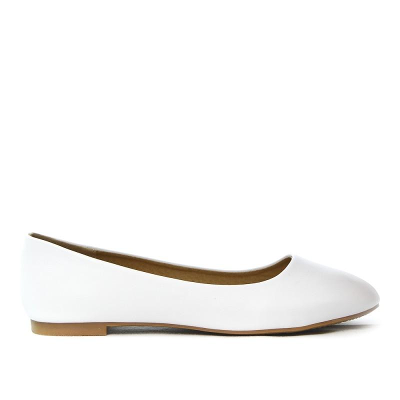 Ballerine blanche en simili cuir