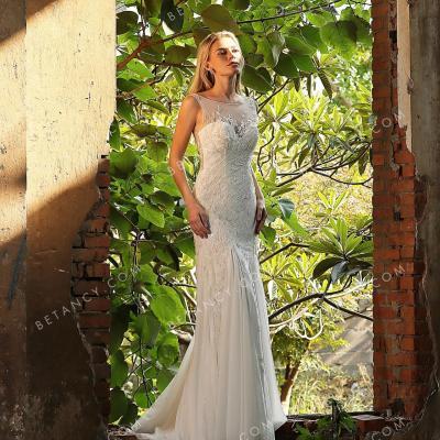 Beaded bateau neck wedding dress 3