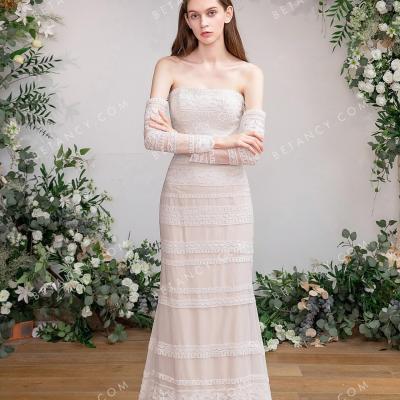 Beige nude lace bohemian wedding dress 2
