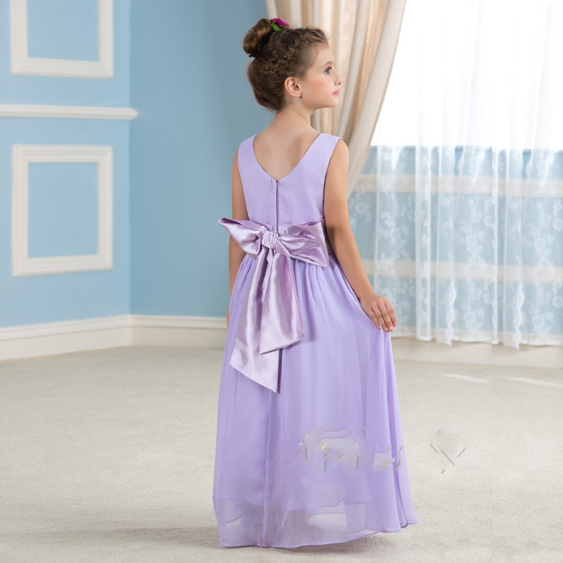 Belle lavande en mousseline de soie pageant robes de demoiselle 2016 enfants beaut eacute