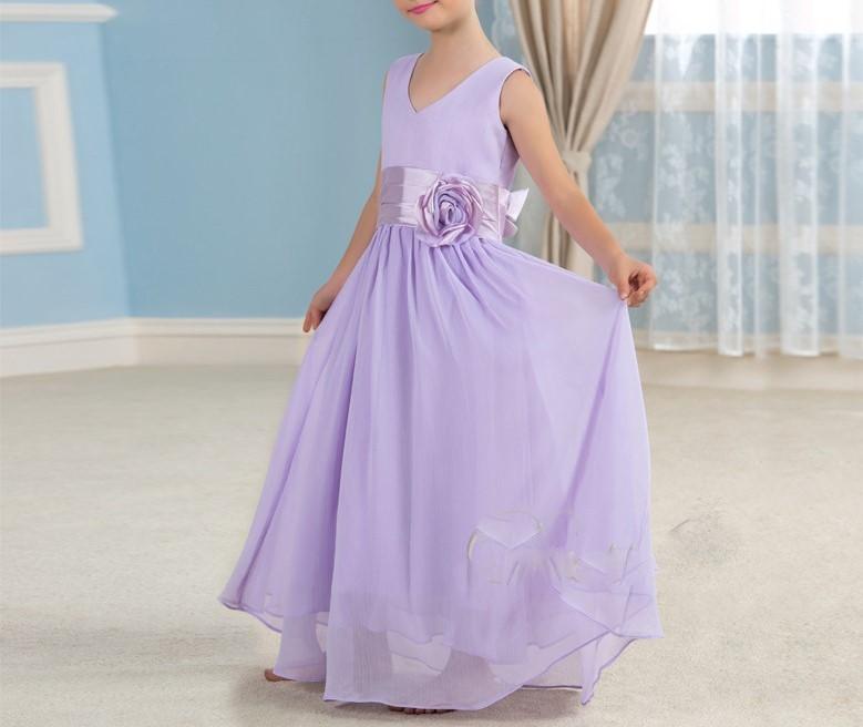 Belle lavande en mousseline de soie pageant robes de demoiselle 2016 enfants beaute pageant robe de 1