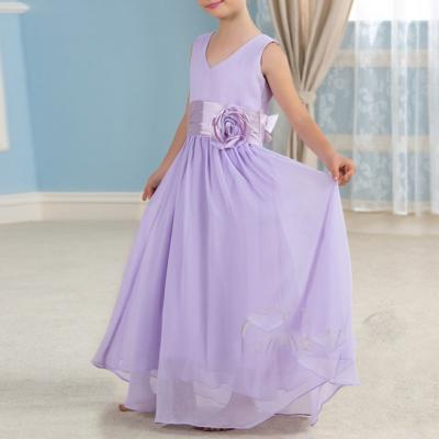 Belle lavande en mousseline de soie pageant robes de demoiselle 2016 enfants beaute pageant robe de 1