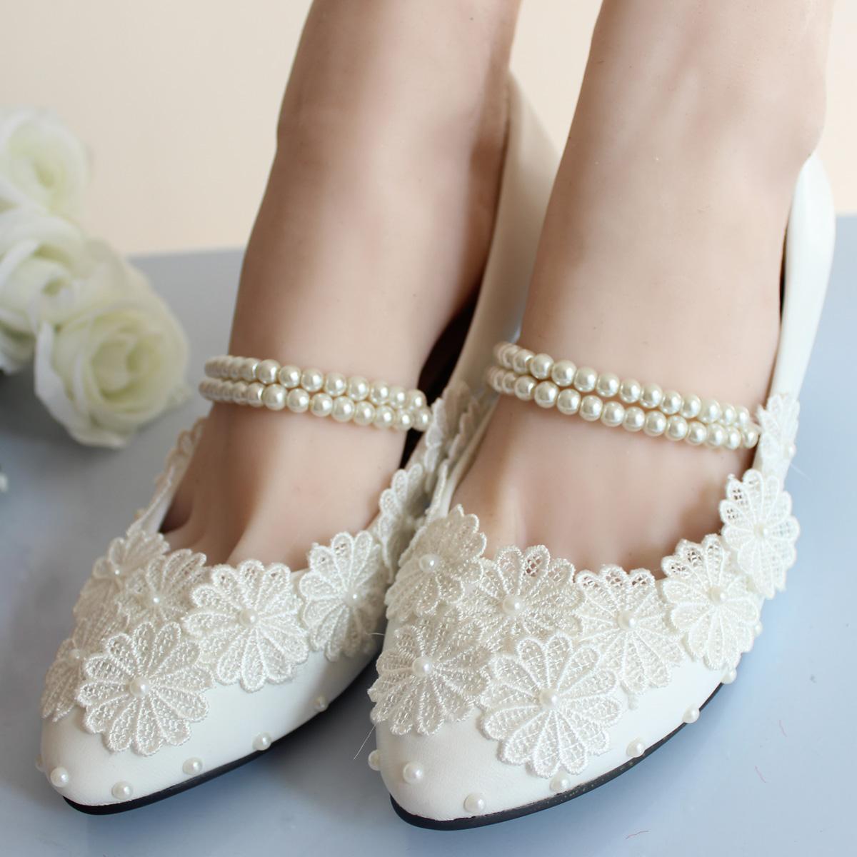 Blanc bandage perles fleur de mariee demoiselle d honneur chaussures femmes chaussures chaussures de mariage pompes