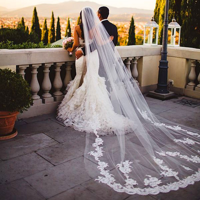 Cathedrale long train voiles de mariage avec dentelle appliques accessoires de mariage voiles de mariee de