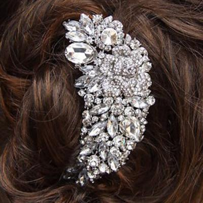 Cristal autrichien strass fleur bouquet cheveux peigne de mariage de mari eacute