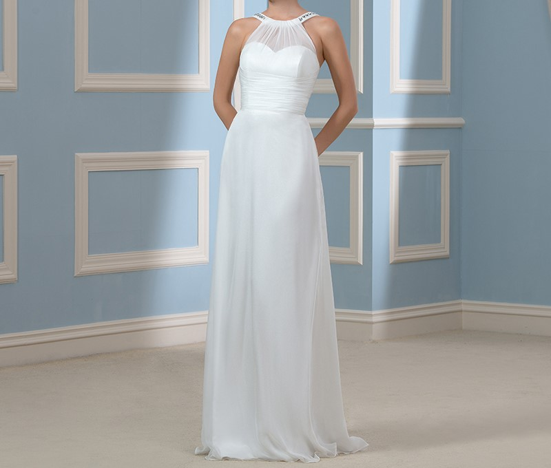 Custom made behomian plage robes de mariee 2015 nouvelle arrivee cristal blanc en mousseline de soie