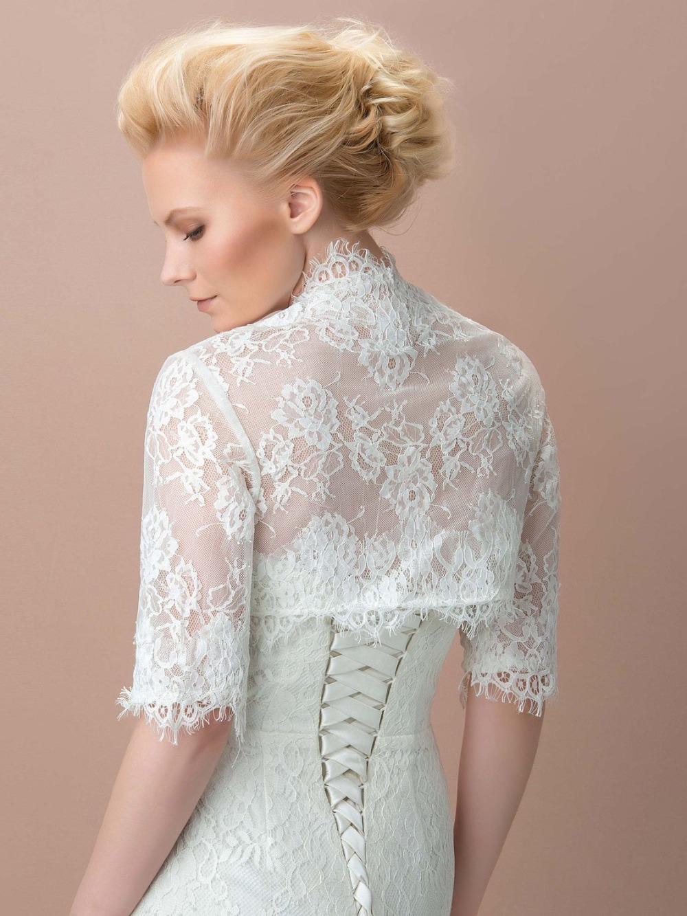 Custom made blanc dentelle appliques de mariage veste moiti eacute