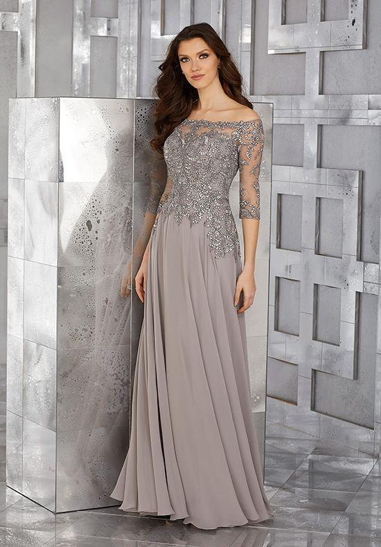 robe de soirée grise manche 3 quart
