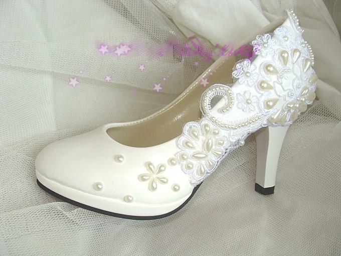 Dentelle a la main perles de fleurs de mariee chaussures femmes chaussures de demoiselle d honneur