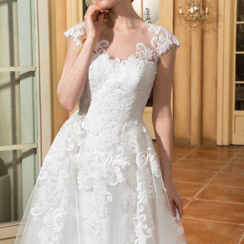 Dressv a ligne cap manches de mariage robe ivoire scoop cou appliques bouton vintage longue eacute 1
