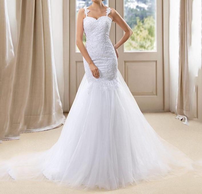 Dressv blanc sirene tulle robe de mariee bretelles sheer retour tribunal train appliques paillettes perles de 1