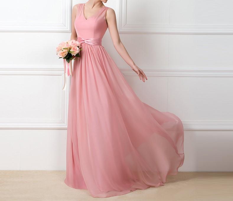 Dressv charme longue blush rose en mousseline de soie robes de mariee 2016 v cou ruche