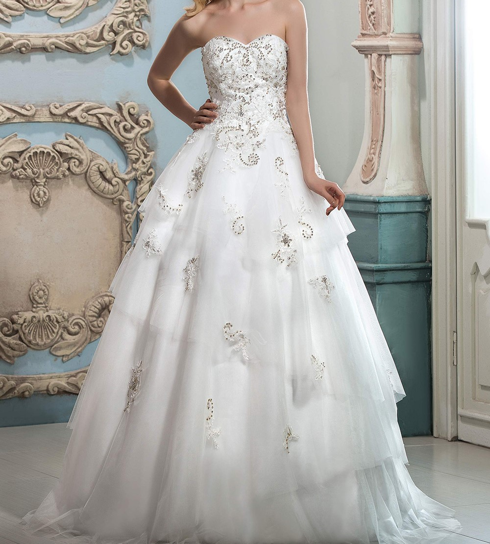 Dressv cherie a ligne de robe de mariage blanc appliques perles volants zipper up tulle robe