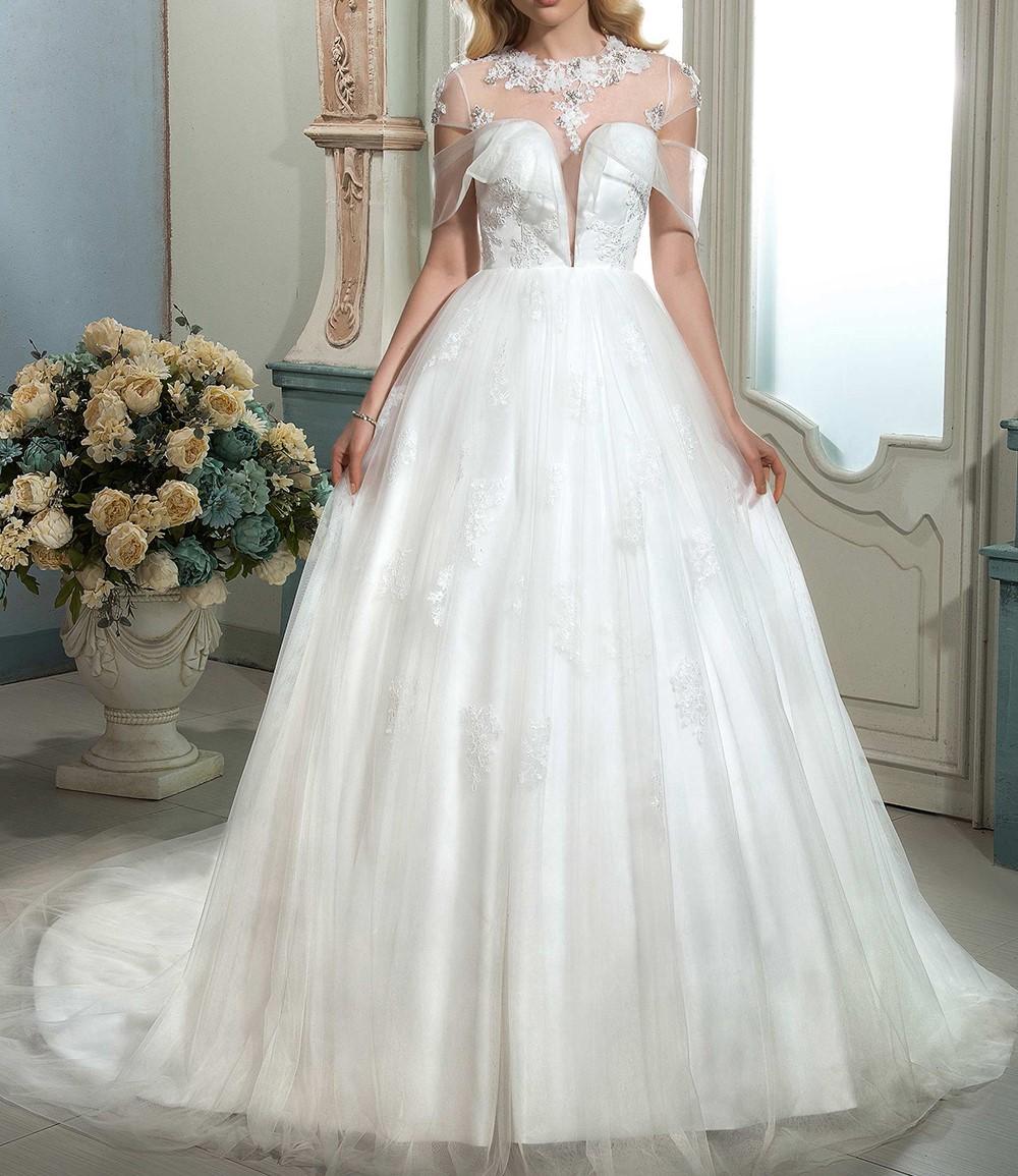 Dressv ivoire appliques perlee robe de mariee a ligne manches courtes tribunal train bouton elegant tulle