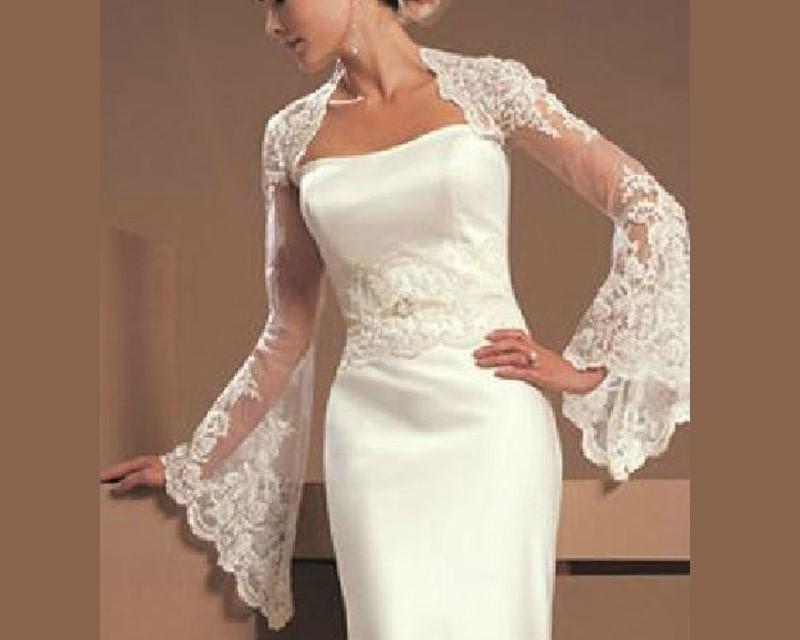 Dressv mode blanc ivoire a manches longues en dentelle veste de mariage match bretelles robe de