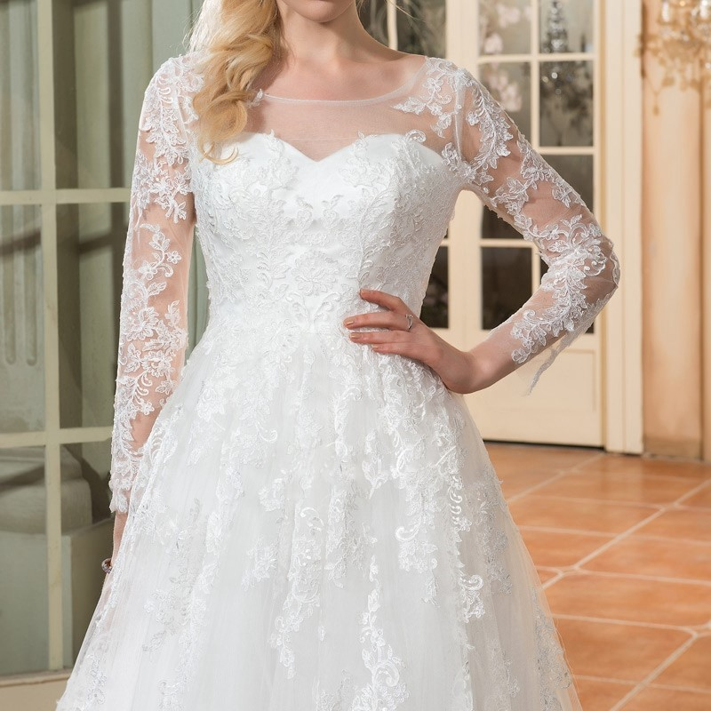 Dressv scoop cou manches longues de mariage robe ivoire appliques cour train zipper up a ligne 1