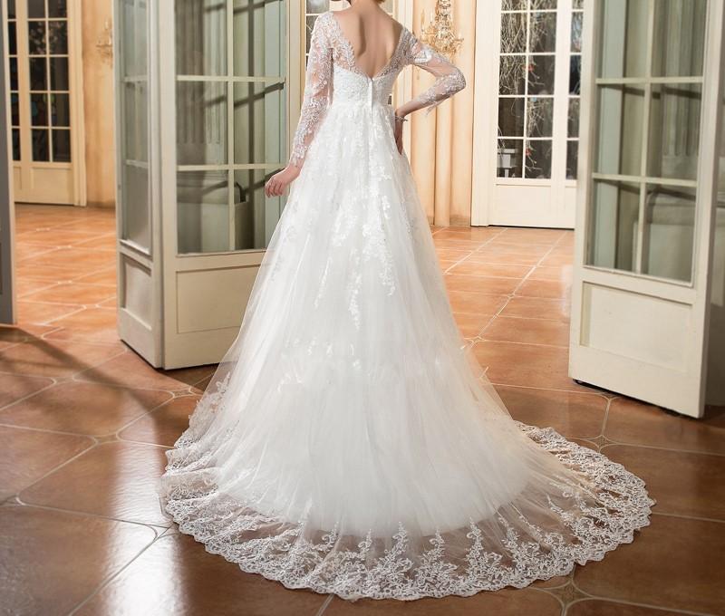 Dressv scoop cou manches longues de mariage robe ivoire appliques cour train zipper up a ligne