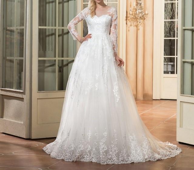 Dressv scoop cou manches longues de mariage robe ivoire appliques cour train zipper up a ligne jpg 640x640