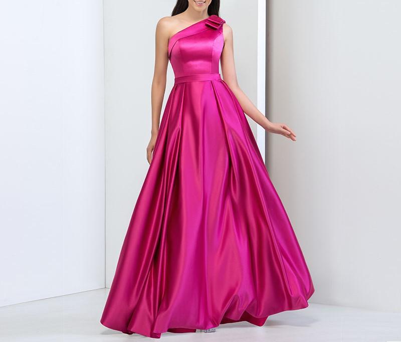 Dressv simple conception fuchsia satin plus la taille une epaule robe de bal a ligne pas