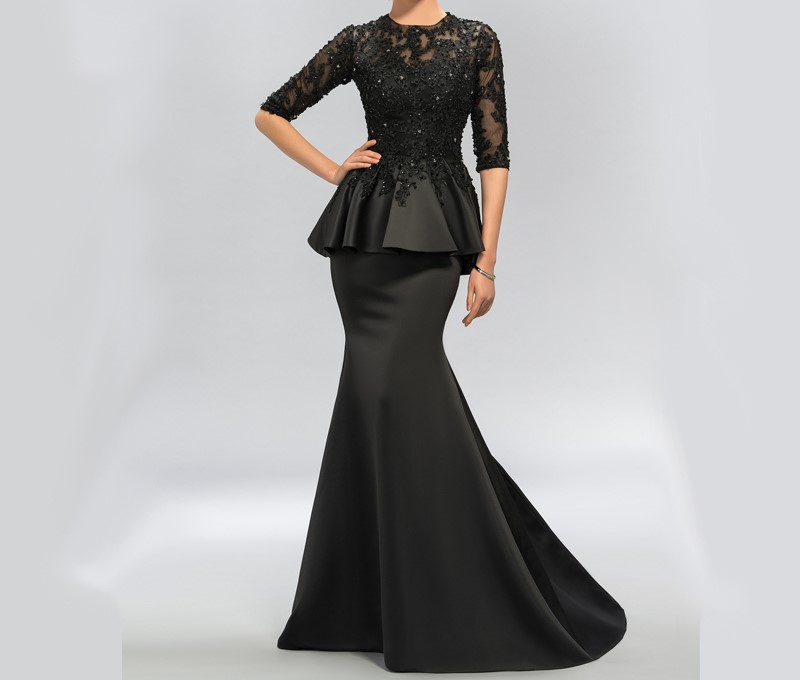 Dressv vintage noir sirene dentelle longues robes de soiree moitie manches perlee scoop cou longues appliques