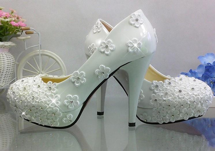 Fleur strass chaussures de mariage blanc ultra hauts talons dentelle cristal mariee et demoiselles d honneur