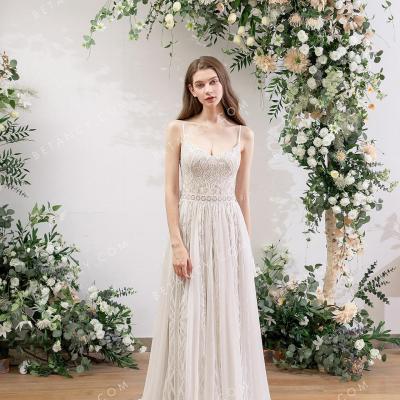 Geometry lace bohemian wedding dress 1