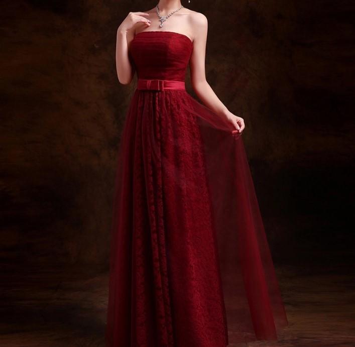 Heureux mariee 2016 nouvelle longue section de soutien gorge vin rouge robe de soiree de mode