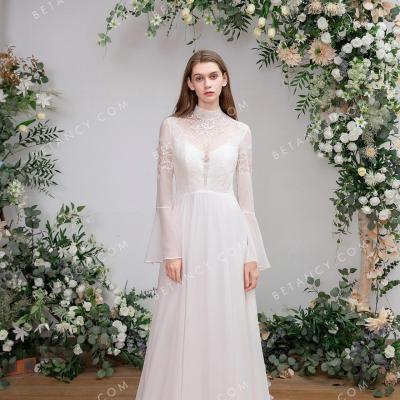 Illusion neck bell sleeve bridal dress 2