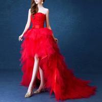 robe de mariée rouge courte avec traine