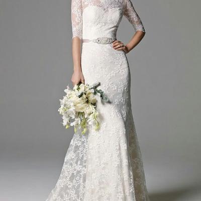 Robe de mariée manches 3/4 tissu dentelle