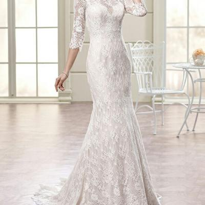 robe sirène pour mariage tissu dentelle ivoire