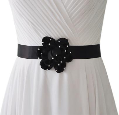 Ceinture noire pour robe de mariée