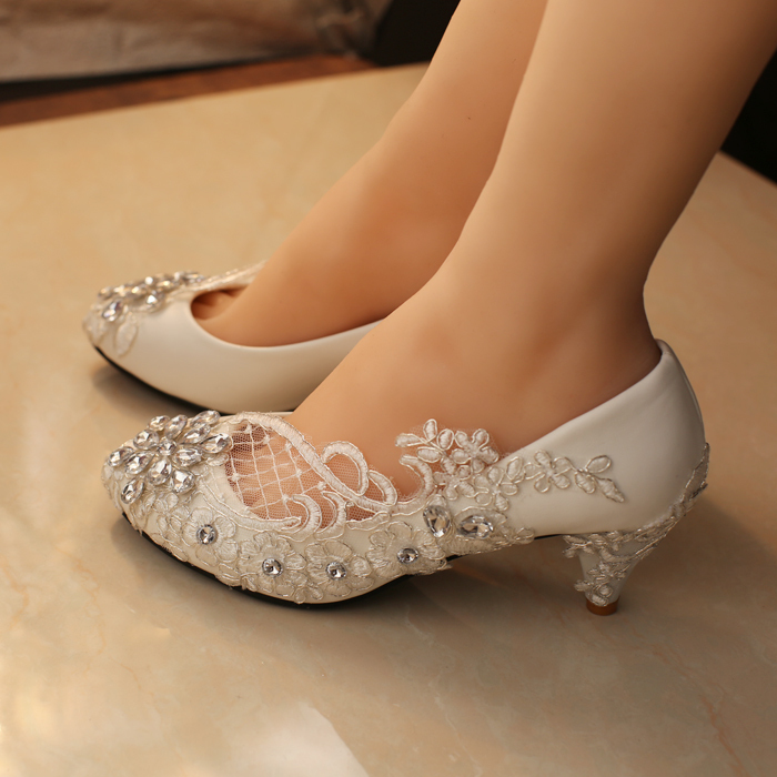 Livraison gratuite blanc chaussures de mariage chaussures de bureau de demoiselle d honneur chaussures de mari eacute 1