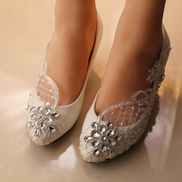 Livraison gratuite blanc chaussures de mariage chaussures de bureau de demoiselle d honneur chaussures de mariee